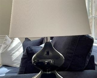 "Item 10:  (2) Deep Navy Blue Table Lamp with Ivory Shade - 24"":  $45 ea"