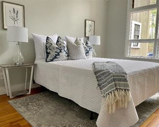 Queen Bed is NOT for sale!                                                                Item 24:  Pretty White Coverlet and 2 matching Shams/Pillows: SOLD                                                                                                        Item 25:  Vince Camuto Throw:   $28