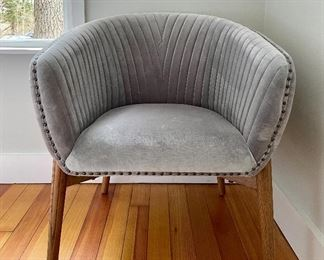 "Item 27:  New! Grey Velvet Armchair - 28""l x 19.25""w x 31.25""h:  $165"