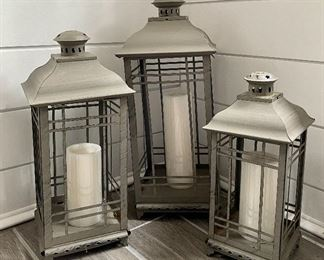 Item 30:  (3) Metal Lanterns:   $45 for all                                                                                                Tallest - 20""