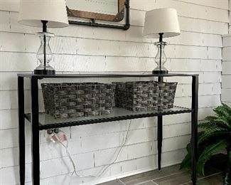 "Item 33:  Glass and Metal Console Table - 43.25""l x 15""w x 31.5""h:  $145"