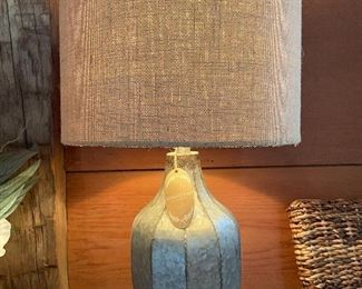 "Item 42:  (2) Decorative Tin Lamps with Burlap Shades - 25"": $74 each"
