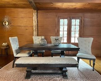 "Item 45:  Dining Table, Double Pedestal Base, with 4 Beige Upholstered Chairs and 2-Seater Bench:   $995   Table - 72""l x 41.5""w x 30.25""h                                                                        Chairs - 22.5""l x 18.5""w x 40.5""h                                                                                     Bench - 64""l x 16.5""w x 18""h"