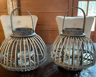 "Item 48:  (2) Wicker Lanterns - 14"": $14 each"