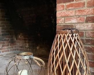 "Item 46:  (2) Metal Lanterns (left) - 12"":  SOLD                                              Item 47:  (2) Rattan Lanterns (right) - 20"": SOLD"