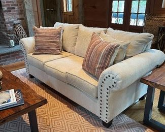 "Item 37:  (2) Brand New Sofas with Nailhead Trim - 86""l x 37""w x 33""h: $795/Each"