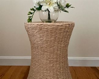 "Item 59:  Rattan Side Table - 14.25"" x 18.5"":  SOLD                                                                         Item 60:  Small vase of white flowers - 9.5"": SOLD"