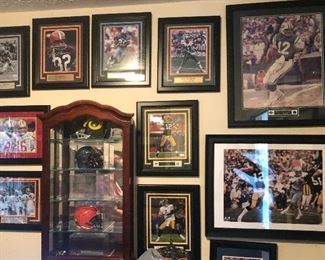 Display case (two available) and more signed and framed sports memorabilia
