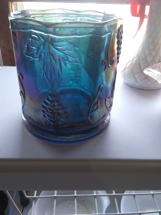 Indiana blue glass rare candle holder