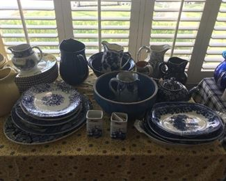 Various Vintage Blue and White Plates, bowls and Pitchers