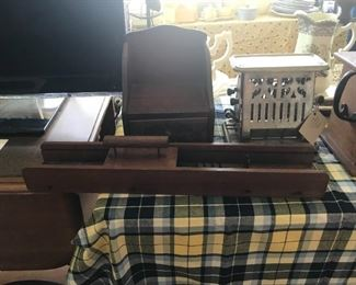 Antique Wood tool, recipe box and toaster