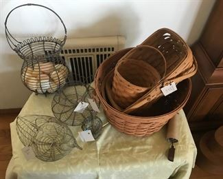 Longerberger baskets and wire egg baskets