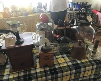 Butter Churns, butter molds and stamps, chopper and coffee mills