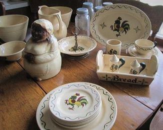 Vintage Metlox Poppytrail Green Rooster China...Vintage Cookie Jar...