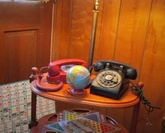 Lamp Table...Vintage Telephones...