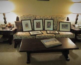 Couch...Coffee Table...Side Tables....Mangum Prints..