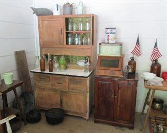 Hoosier Cabinet...Cast Iron Items..Vintage Tins...