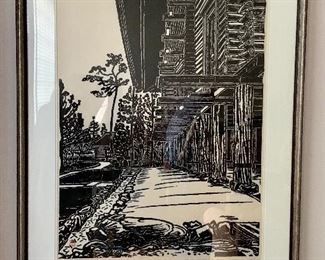 "$1300 - Unichi Hiratsuka, ""Shosoin, Nara"" woodblock print, 1958, A/P; Acquired 1970 from Franz Bader Gallery WDC; 40.5"" H x 32"" W"