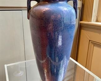 "$120 - ""Hispano Moresque"" Vase with blue iridescent glaze; 10.5"" H x 5"" W"