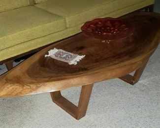 c1950's Cut Slab Mahogany Coffee Table