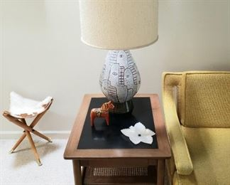 From Modern Age Furniture c1960's  Gray Faces Lamps and End Table by Modern Age