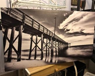Awesome black white dramatic ocean pier photograph