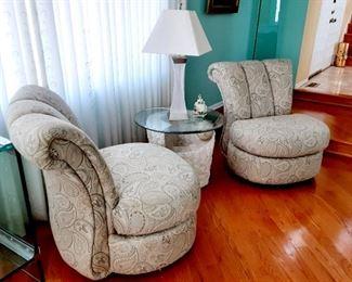 Kagen style swivel side chairs