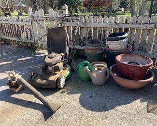 Pots, Lawn boy lawnmower, blower