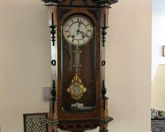 Antique burlwood Carl Werner German chiming clock- 1888 -Vienna Regulator