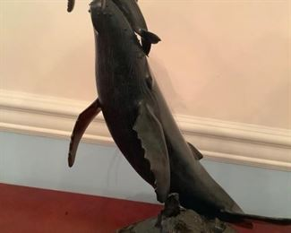 'Newborn' whale and calf bronze sculpture by world  renowned sculptor Randy Puckett signed and limited edition 1992