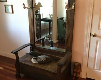 Antique hall tree with hat racks, mirror, and seat   Large hand carved and  signed Common Loon by Jim Lascoff