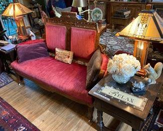 Deco-style lamps,  Eastlake love seat,