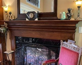 Eastlake ladiy's chair, leaded glass firescreen, collection of sad irons, deco marble clock