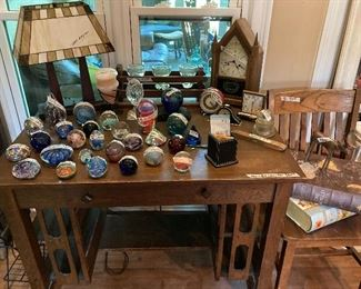 Mission oak library table, Steeple clock, Paperweight collection