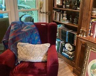Wingback chair, Pendleton blanket, books