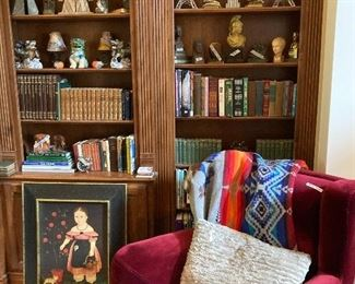 Books, wing-back chair, Pendleton blanket
