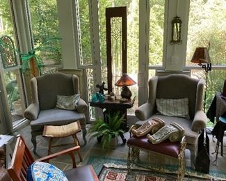 Pair wing-back chairs, brass bench,