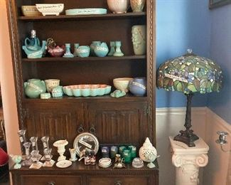 Pottery—VanBriggle, Brush Mc Coy, Catalina, Roseville, English Arts & Crafts hutch, Tiffany-Style lamp