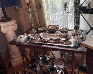 Tea cart, silverplate