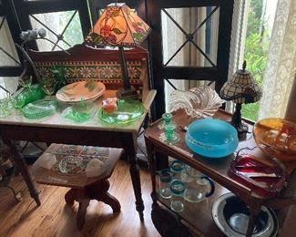Wood & glass screen, English washstand, depression glass, Spode