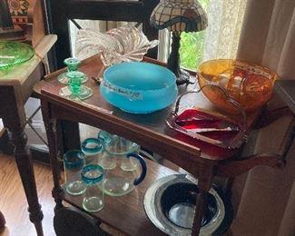 Tea cart, carnival egg nog set
