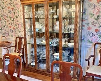 """$495 - Lighted, breakfront/china cabinet with 4 glass shelves.  84""""H; 67""""W; 16""""D"""