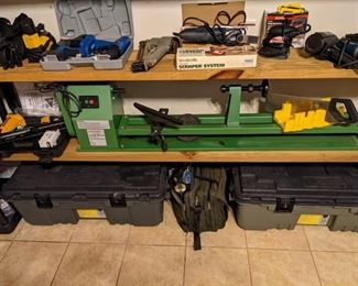 LATHE, DRILLS, TOOL CHESTS