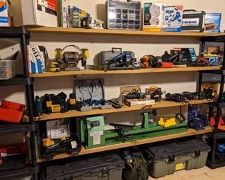 SOME OF THE MANY TOOLS...LATHE, TOOL BOXES, DRILLS, ETC.