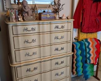 FRENCH PROVENCIAL CHEST OF DRAWERS, MIRROR, AFHANS