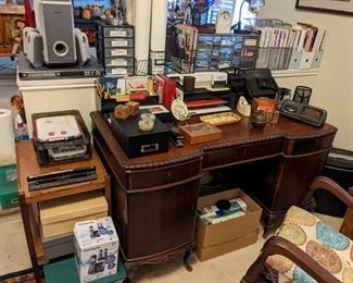 ANTIQUE MAHOGANY DESK..PHILLIPS 6 SPEAKER SET & DVD PLAYER...MISC. OFFICE SUPPLIES