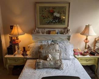 FULL SIZE BED & BEDFRAME...FRENCH PROVENCIAL NIGHT STANDS