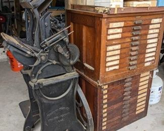 ANTIQUE LETTER PRESS & LETTER PRESS CABINET FULL OF METAL TYPE (SELLING ALL FOR ONE MONEY)