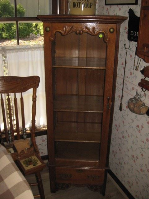 Small antique oak glass front cabinet