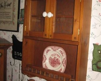 Farmhouse style hand crafted glass front wall cabinet